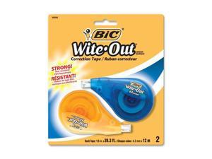 "BIC Wite-Out EZ Correct Correction Tape, Non-Refillable, 1/6"" x 472"", 2/Pack"