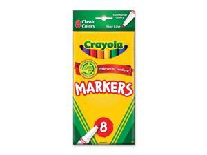 Crayola 58-7709 Non-Washable Markers, Fine Point, Classic Colors, 8/Set