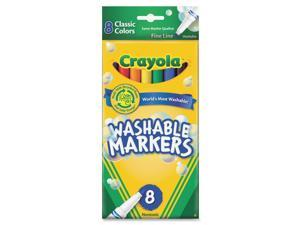 Crayola Washable Markers, Fine Point, Classic Colors, 8/Pack