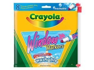 Crayola 58-8165 Washable Window FX Markers, Conical Tip, Assorted Colors, 8/Pack