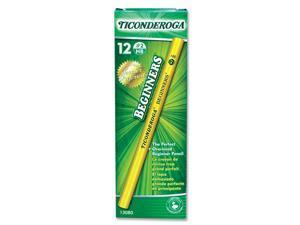 Dixon 13080 Ticonderoga Beginners Wood Pencil w/o Eraser, #2, Yellow Barrel, Dozen