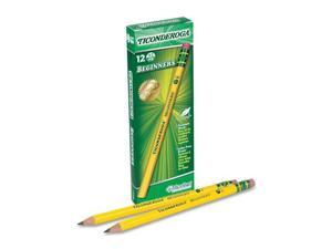 Dixon Ticonderoga Beginners Wood Pencil w/Eraser, HB #2, Yellow Barrel, Dozen