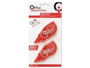 "Office Impressions Correction Tape, Non-Refillable, 1/5"" x 472"", 2/Pack"