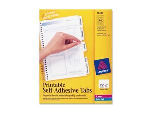 Avery                                    Printable Repositionable Plastic Tabs, 1 1/4 Inch, White, 96/Pack