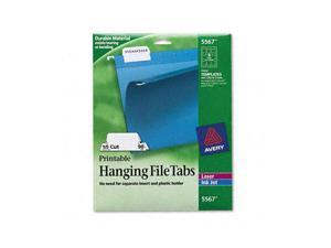 Avery                                    Print/Write-On Hanging Tabs, 1/5 Tab, 2 1/16 Inch, White, 90/Pack