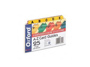 Oxford                                   Laminated Index Card Guides, Alpha, 1/5 Tab, Manila, 3 x 5, 25/Set