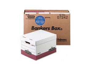 Bankers Box R-Kive Max Storage Box, Letter/Legal, Locking Lid, White/Red 12/Carton