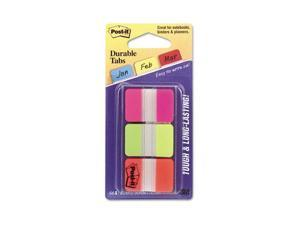 Post-it                                  Durable File Tabs, 1 x 1 1/2, Assorted Fluorescent Colors, 66/Pack