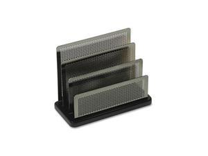 Mini Sorter, Three Sections, Metal/Wood, 7 1/2 x 3 1/2 x 5 3/4, Black/Silver