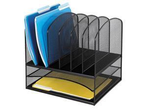 Safco 3255BL Mesh Desk Organizer, Eight Sections, Steel, 13 1/2 x 11 3/8 x 13, Black