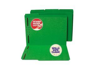 S J Paper S11544 Water/Cut-Resistant Folder, Two Fasteners, 1/3 Top Tab, Letter, Green, 50/Box