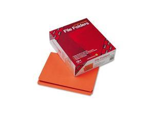 Smead File Folders, Straight Cut, Reinforced Top Tab, Letter, Orange, 100/Box
