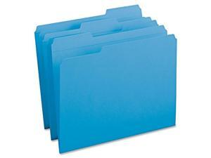 Smead File Folders, 1/3 Cut, Reinforced Top Tab, Letter, Blue, 100/Box
