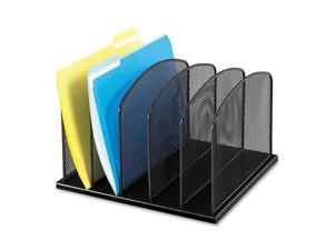 Safco 3256BL Mesh Desk Organizer, Five Sections, Steel, 12 1/2 x 11 1/4 x 8 1/4, Black