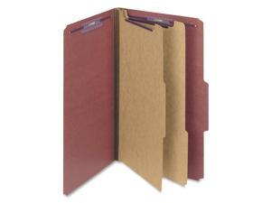 Smead                                    Pressboard Classification Folders wSelf Tab, Legal, Six-Section, Red, 10/Box