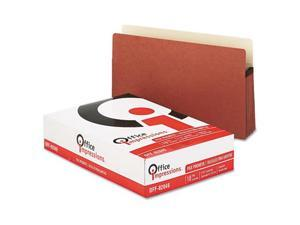 "Office Impressions 5 1/4"" Exp. File Pockets, Straight, Redrope/Manila, Legal, Redrope, 10/Box"