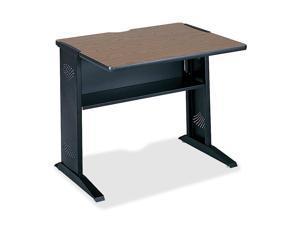 Computer Desk W/ Reversible Top, 35-1/2w x 28d x 30h, Mahogany/Medium Oak/Black