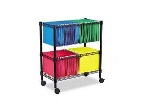 Alera FW60-1426BL Two-Tier Rolling File Cart, 26w x14d x 29-1/2h, Black