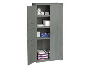 Iceberg 92552 OfficeWorks Resin Storage Cabinet, 33w x 18d x 66h, Charcoal