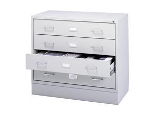 Safco 4935LG Four-Drawer A/V Microform Storage Cabinet, 37w x 17-1/2d x 27-3/4h, Lt Gray
