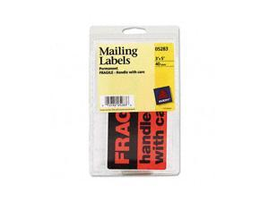 """""""Fragile—Handle with Care"""" Labels, 3 x 5, Black/Neon Red, 40/Pack"""