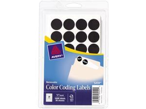 Removable Self-Adhesive Color-Coding Labels, 3/4in dia, Black, 1008/Pack