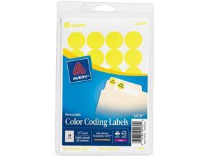 Print or Write Removable Color-Coding Labels, 3/4in dia, Neon Yellow, 1008/Pack