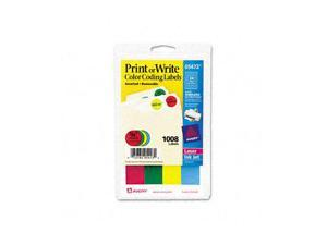 Print or Write Removable Color-Coding Labels, 3/4in dia, Assorted, 1008/Pack