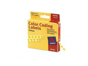 Permanent Self-Adhesive Color-Coding Labels, 1/4in dia, Yellow, 450/Pack