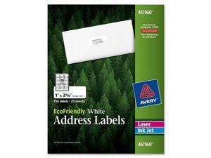 EcoFriendly Labels, 1 x 2-5/8, White, 750/Pack