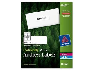 EcoFriendly Labels, 1-1/3 x 4, White, 1400/Pack