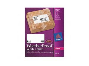 White Weatherproof Laser Shipping Labels, 2 x 4, 500/Pack