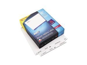 Return Address Labels, 1/2 x 1-3/4, White, 20000/Box