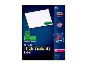 High-Visibility Laser Labels, 1 x 2-5/8, Neon Green, 750/Pack