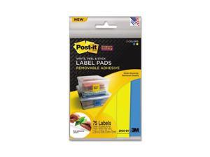 Super Sticky Removable Label Pads, 3w x 3h, Blue/Yellow, 75 Labels/Pack