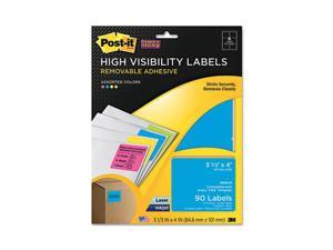 Super Sticky Removable ID Labels, 3-1/3w x 4h, Assorted Neon, 90 Labels/Pack