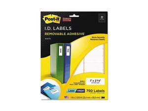 Post-it Super Sticky Super Sticky Removable ID Labels, 1w x 2-5/8h, White, 750 Labels/Pack