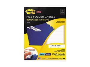 Post-it Super Sticky Super Sticky Removable File Folder Labels, 2/3 x 3 7/16, White, 1500/Pack