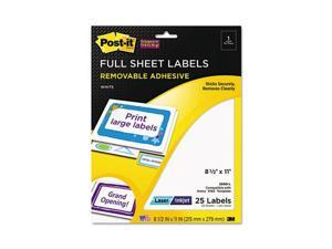 Post-it Super Sticky 2500-L Super Sticky Removable ID Labels, 8-1/2w x 11,h White, 25 Labels/Pack