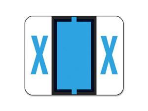 A-Z Color-Coded Bar-Style End Tab Labels, Letter X, Blue, 500/Roll