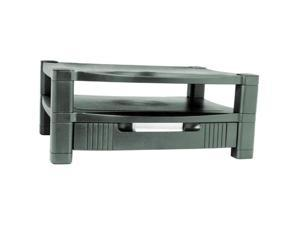 Kantek MS480 Two Level Stand, Removable Drawer, 17 x 13 1/4 x 3 to 6 1/2, Black