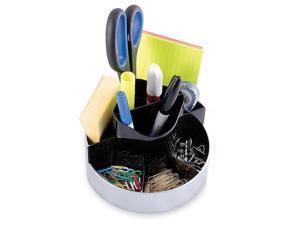 Kantek ORG620 Rotating Desk Organizer, Plastic, 6 x 5 3/4 x 4 1/2, Black/Silver