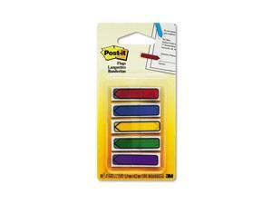 "Post-it                                  Arrow 1/2"" Flags, Blue/Green/Orange/Red/Yellow, 20/Color, 100/Pack"