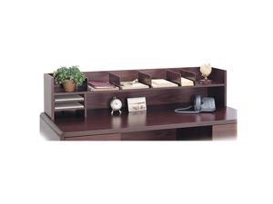 Safco 3671MH Low-Profile Desktop Organizer, 10 Sections, 57 1/2 x 12 x 12, Mahogany