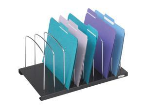 Wire Slanted Vertical Organizer, Eight Compartments, Black