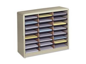 Steel/Fiberboard Literature Sorter, 24 Sections, 32 1/4 x 13 1/2 x 25 3/4, Sand