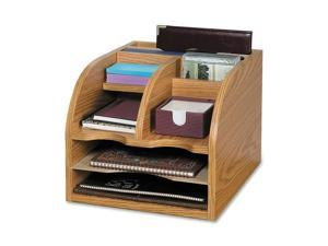 Safco 9425MO Radius Front Corner Organizer, Eight Sections, 13 1/4 x 11 x 16 1/2, Oak
