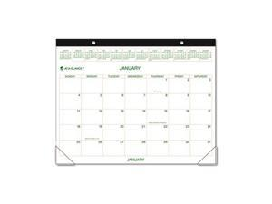 "Recycled Two-Color Desk Pad Calendar,  Green and Brown, 22"" x 17"""