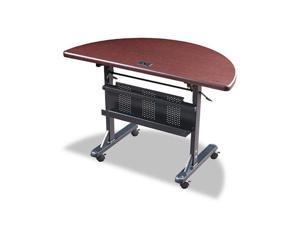 BALT 89877 Flipper Training Table, Half-Round, 48w x 24d x 29-1/2h, Mahogany