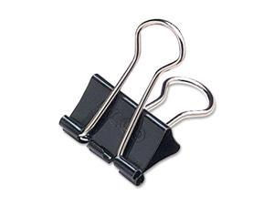"Small Binder Clips, Steel Wire, 5/16"" Cap., 3/4""w, Black/Silver, Dozen"